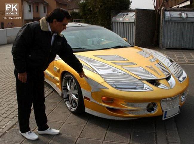 عکس ماشین پونتیاک طلایی ایرانی,عکس ماشین 12 میلیاردی یک ایرانی,عکس ماشین لوکس ایرانی از طلا و برلیان,عکس پونتیاک,ماشین یک ایرانی در آلمان,ماشین طلای ایرانی