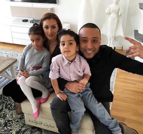 آرش لباف و همسرش بهناز انصاری + دوقلوهایش دنیا و دارین