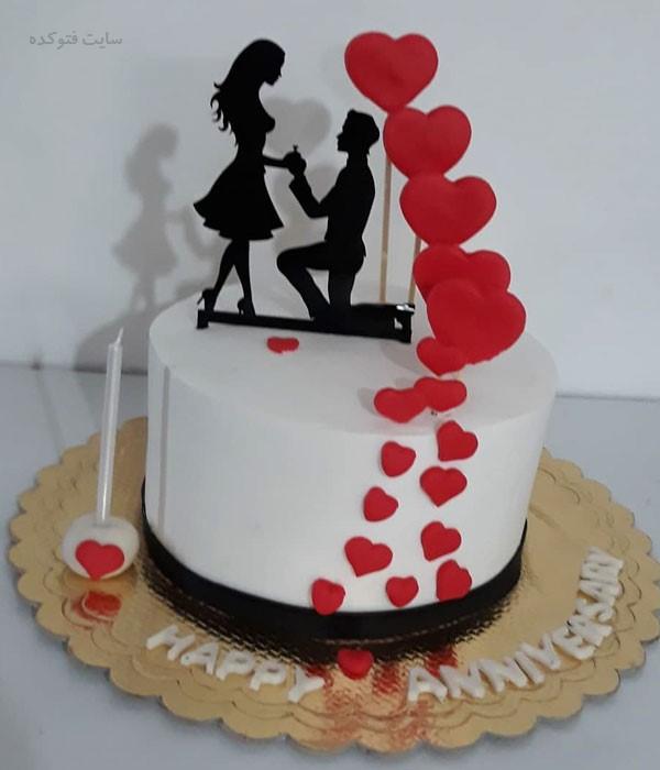 کیک قشنگ سالگرد ازدواج ساده