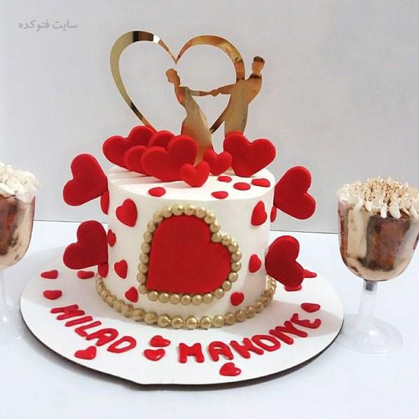 مدل کیک سالگرد ازدواج عاشقانه