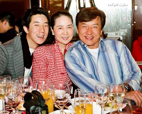 عکس جکی چان و همسرش + پسرش