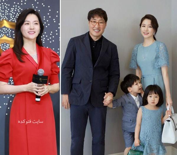 عکس لی یونگ آئه (یانگوم) و همسرش با فرزندان دوقلو