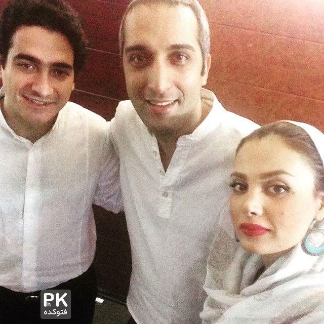 عکس امیرمهدی ژوله و همسرش در کنار همایون شجریان