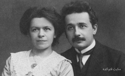 عکس آلبرت انشتین در کنار همسر نخستش میلوا ماریک