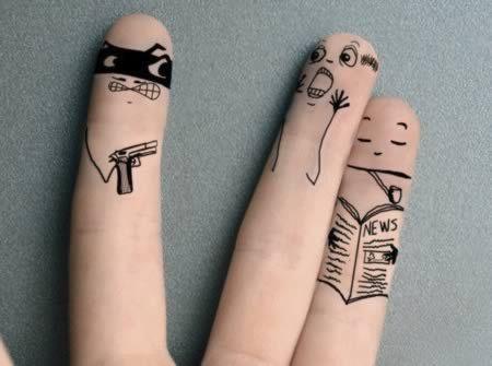 عکس جالب و بامزه با انگشت