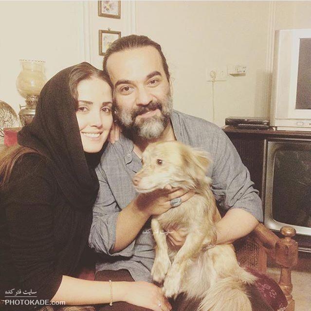 عکس یغما گلرویی با همسر و سگش