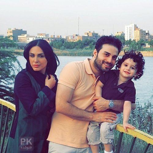 عکس خانوادگی بابک جهانبخش در کنار همسر و پسرش آرتا