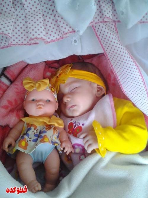 عکس شباهت بچه ها و عروسکاشون,عکس های جالب شباهت بچه ها به عروسکاشون,عکس های باحال و جالب شباهت عروسک به بچه ها