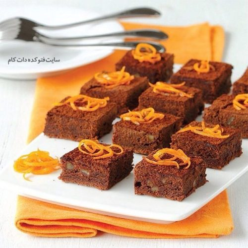 براونی بادام پرتقالی شیرینی مجلسی + آموزش طرز تهیه
