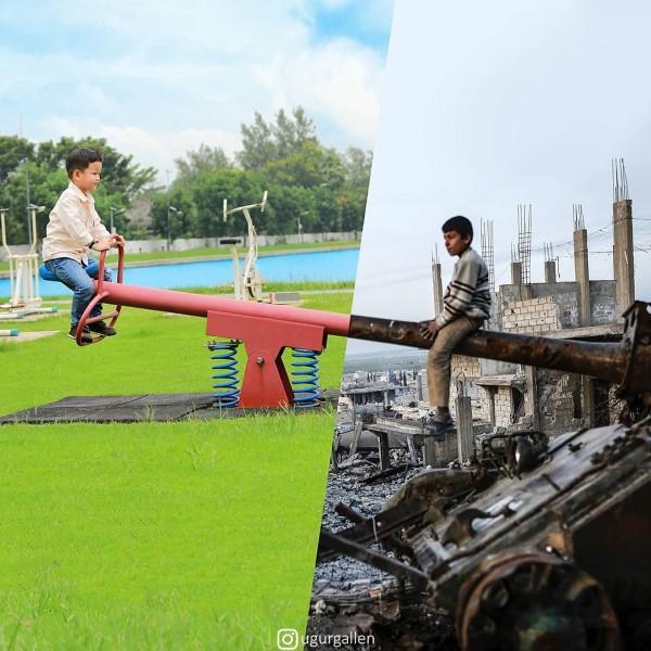 عکس های ترکیب جنگ و صلح متضاد هم