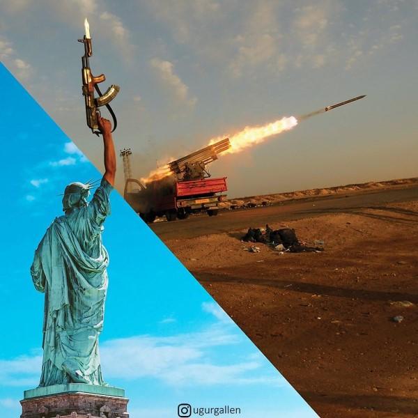 عکس جنگ و صلح در یک قاب مشترک