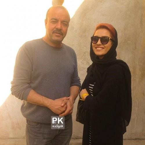 عکس مونا کرمی در نقش سحر (عکس در کنار سعید آقاجانی کارگردان مجموعه)