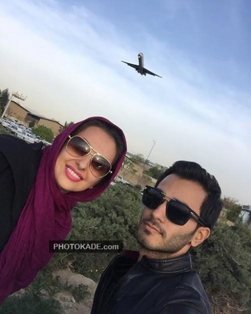 عکس جدید نفیسه روشن و برادرش و همسر خلبانش توی هواپیمای بالای سرشان