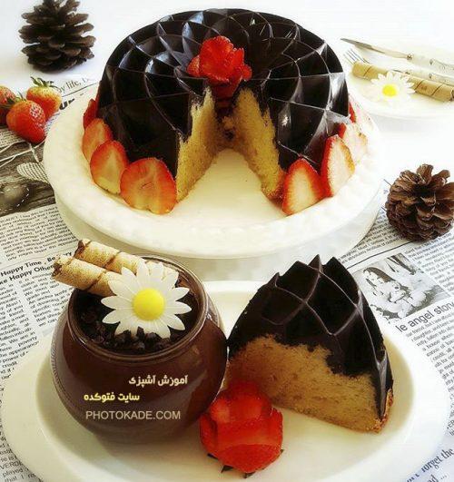 طرز تهیه کیک ساده با رویه شکلاتی + عکس