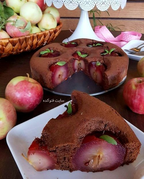 عکس کیک سیب شکلاتی + مواد لازم و طرز تهیه