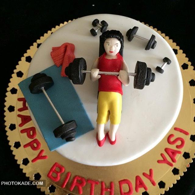 مدل کیک تولد برای دختر ورزشکار و بدنساز