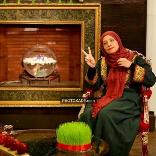 عکس شبنم مقدمی کنار سفره هفت سین عید نوروز 95