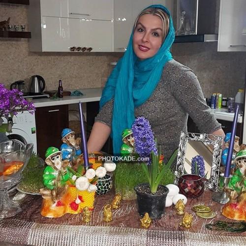 عکس آزیتا ترکاشوند کنار سفره هفت سین عید نوروز 95