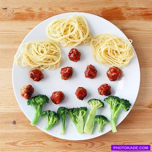 تزئین غذای کودک در بشقاب