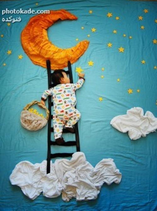 عکس بچه ها در زمان خواب ، عکس ابتکاری مامان ها برای بچه ها ، عکس جالب از زمان خواب بچه ها ، طرح های فانتزی و با حال مادر خا از خواب بچه ها ، طرح های ابتکاری از بچه های در خواب