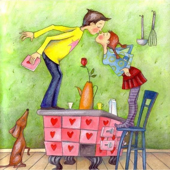 عکس بوسه های کارتونی دختر و پسر
