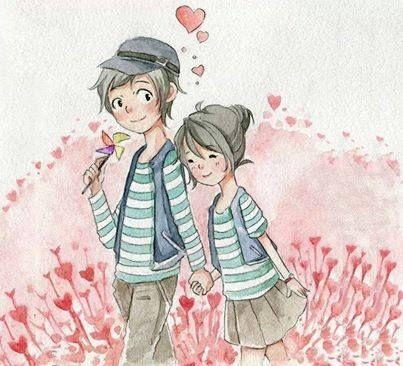 عکس عاشقانه کارتونی دختر و پسر کنار هم + متن زیبا