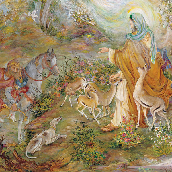 تابلو نقاشی ضامن آهو محمود فرشچیان