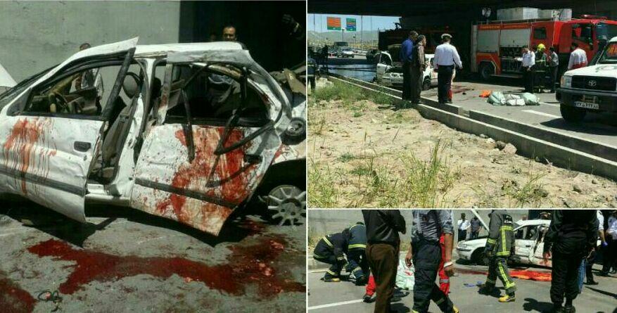 تصادف دانشجویان دانشگاه آزاد قزوین و فوت 3 دختر,ماجرای تصادف دانشجویان دختر دانشگاه آزاد قزوین,تصادف در قزوین,عکس تصادف باراجین دختران دانشجو