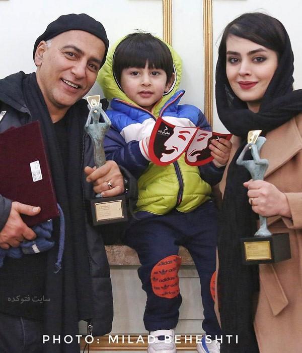 همسر حمیدرضا آذرنگ خانوم ساناز بیان و پسرش بامداد