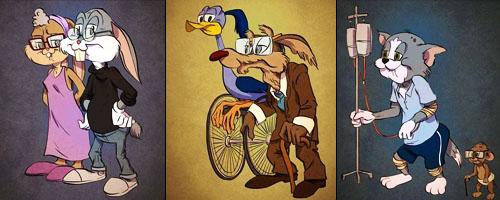 عکس پیر شدن شخصیت های کارتونی,عکس های جالب از شخصیت های کارتونی,عکس جدید تام و جری,عکس پیر شدن کایوت و میگ میگ,تام و جری پیر شدن,عکس های جالب و دیدنی,باحال
