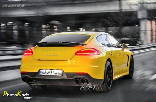 عکس ماشین پورشه پانامرا جی تی اس با پلاک خاص (Porsche Panamera GTS 2015)