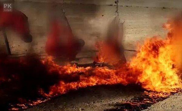 عکس وحشتناک ترین جنایت داعشی ها,روش جدید اعدام داعش,نوع جدید از اعدام داعشی ها با سوزاندن آروم آروم,جنایت وحشتناک داعشی,وحشتناکترین اعدام توسط داعش