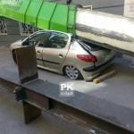 عکس سقوط جرثقیل در نیاوران