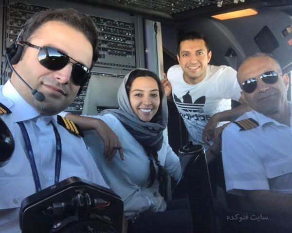 عکس اشکان خطیبی و همسرش در کابین خلبان