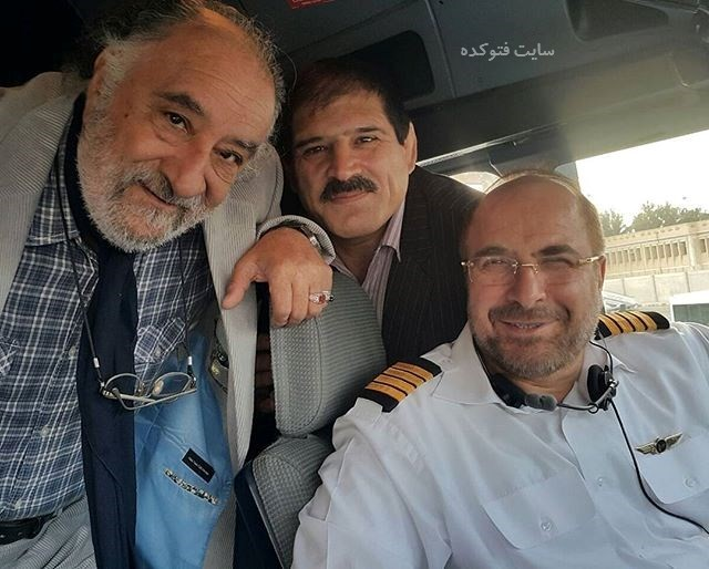 عکس داریوش ارجمند و عباس جدیددر کابین خلبانی محمدباقر قالیباف