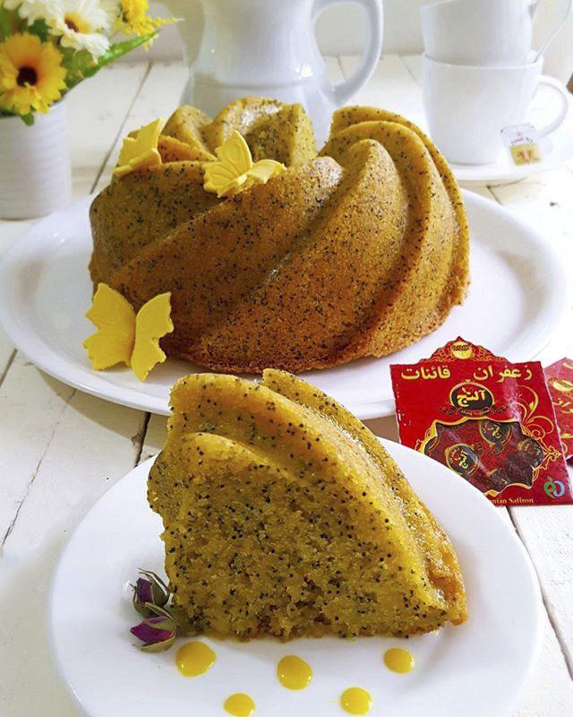 طرز تهیه کیک خرفه زعفرانی با دستور ساده و سریع