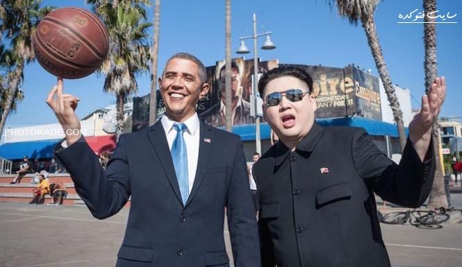 عکس دیدار اوباما و رهبر کره شمالیی,عکس ملاقات محرمانه اوباما با رهبر کره شمالی,عکس های دیدار کیم جونگ اون با اوباما رهبر آمریکا,عکس های فوق محرمانه اوباما