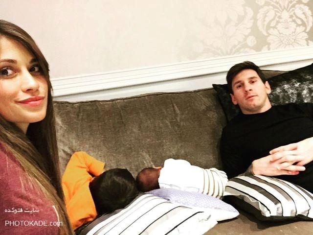 عکس لیونل مسی و همسرش,عکس خانوادگی لیونل مسی,لیونل مسی و همسرش,عکس بچه های لیونل مسی