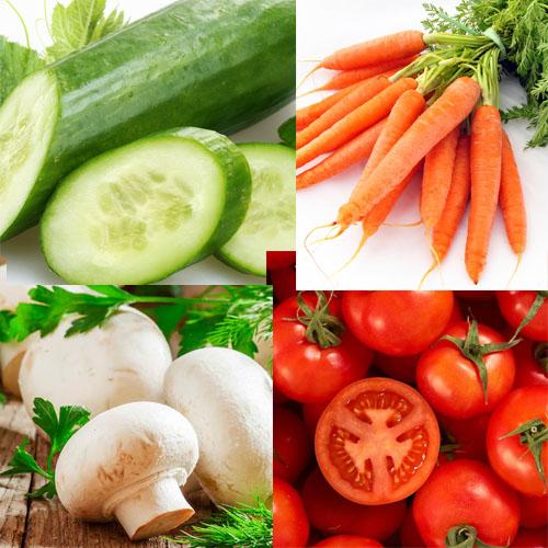 قارچ، هویج، گوجه و خیار