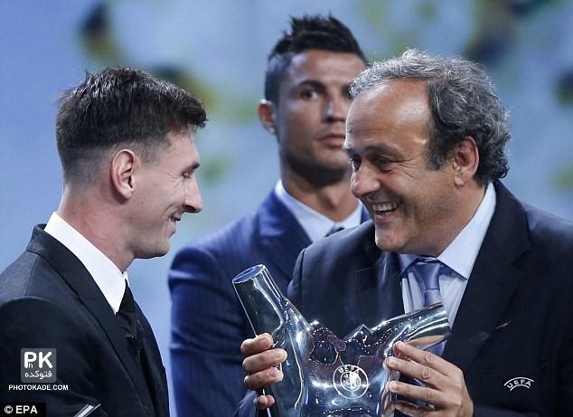 لیونل مسی بهترین بازیکن قاره اروپا با عکس,عکس های مراسم انتخاب بهترین بازیکن قاره اروپا در سال 2014,عکس جدید مسی در انتخاب بهترین بازیکن اروپا,لیونل مسی