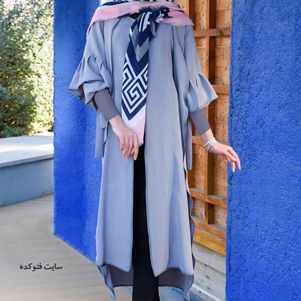 مدل مانتو عید ۹۹ با رنگ آبی و مرجان سال