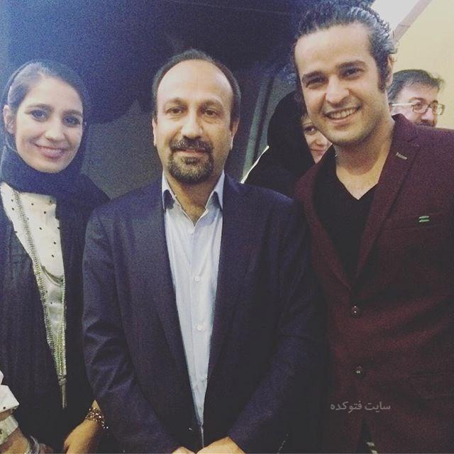 عکس مجتبی پیرزاده و همسرش در کنار اصغر فرهادی