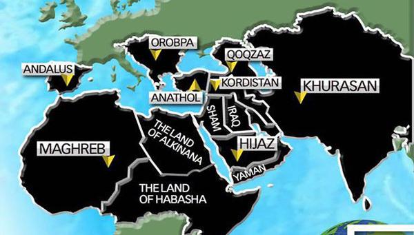 قلمرو وحشتناک داعش در سال 2020,نقشه داعش در سال 2020,ایران در قلمرو نقشه داعش برای سال های آینده,داعش و ایران,عکس قلمروی داعش روی نقشه,داعش در آینده,isis