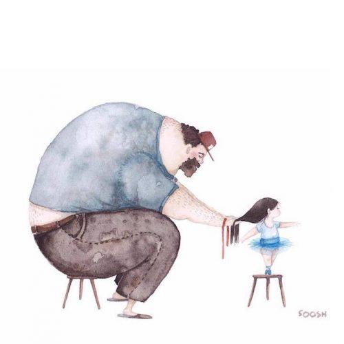 پدر باحال و عشق برای بچه ها , عکس های جالب از پدرانه های باحال , عکس جالب از پدر های خوب و دوست برای فرزندان , پدر باحال , کاریکاتور پدر خوب برای فرزندان