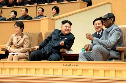 عکس دنیس رودمن در کنار رهبر کره شمالی و همسرش