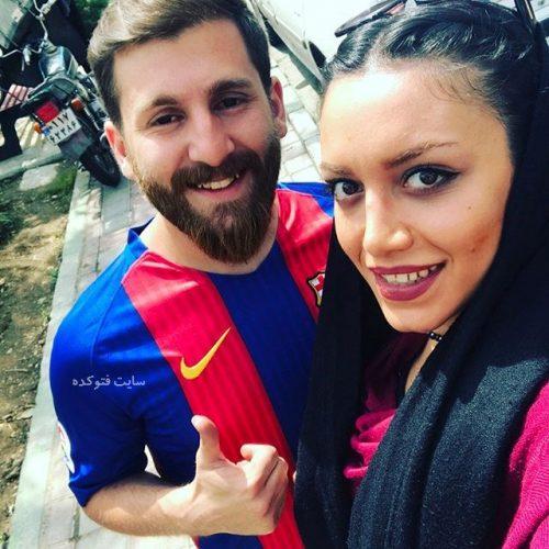 عکس رضا پرستش معروف به مسی ایرانی با دختر خوشگل