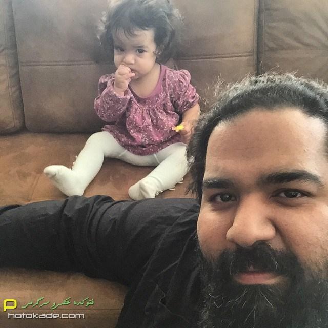 عکس های رضا صادقی زمستان 93 با دخترش