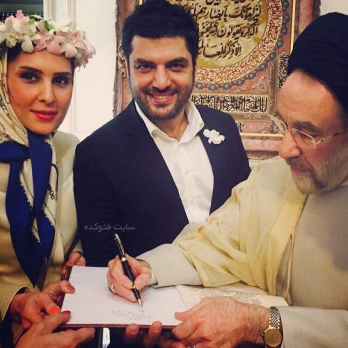 عکس روز ازدواج سام درخشانی با عسل امیرپور در کنار خاتمی