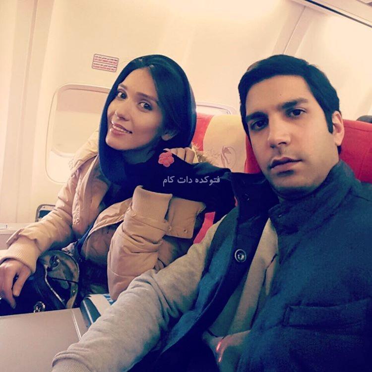 عکس دیده نشده از شهرزاد کمال زاده و ارسطو خوش رزم در هواپیما