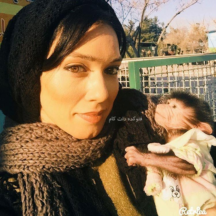 عکس شهرزاد کمال زاده با میمون